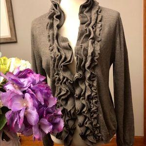 Garnet Hill Size M gray ruffle cardigan